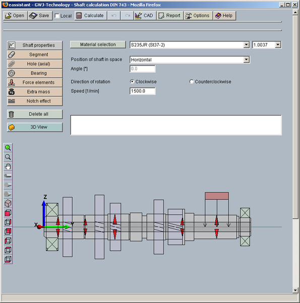 GWJ eAssistant: Shaft calculation with strength according to
