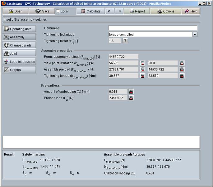 GWJ eAssistant: Bolt calculation according VDI 2230